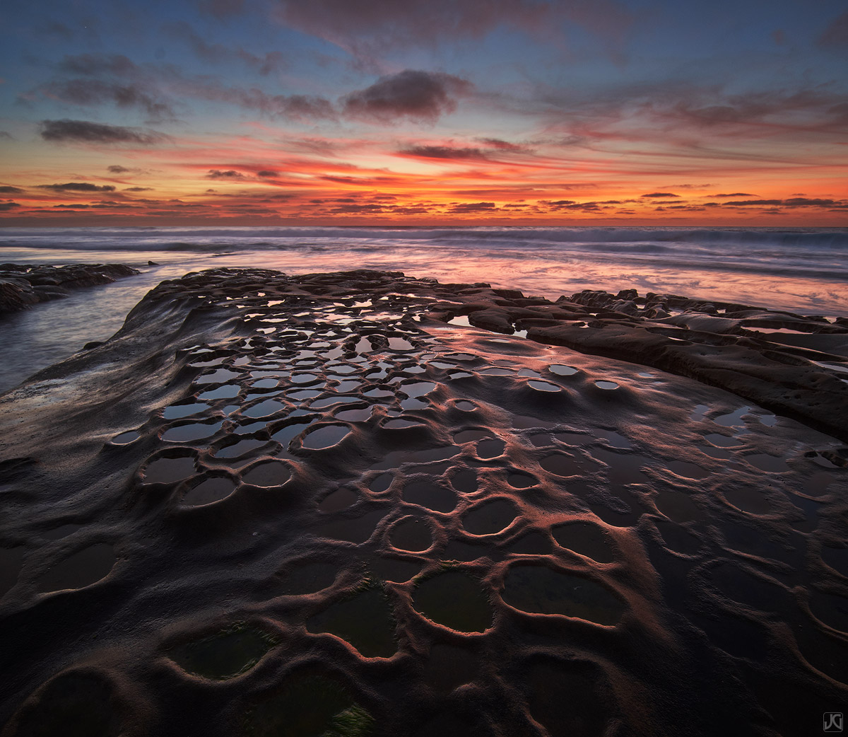 California, coast, La Jolla, sunset, sky, clouds, reflection, potholes, photo