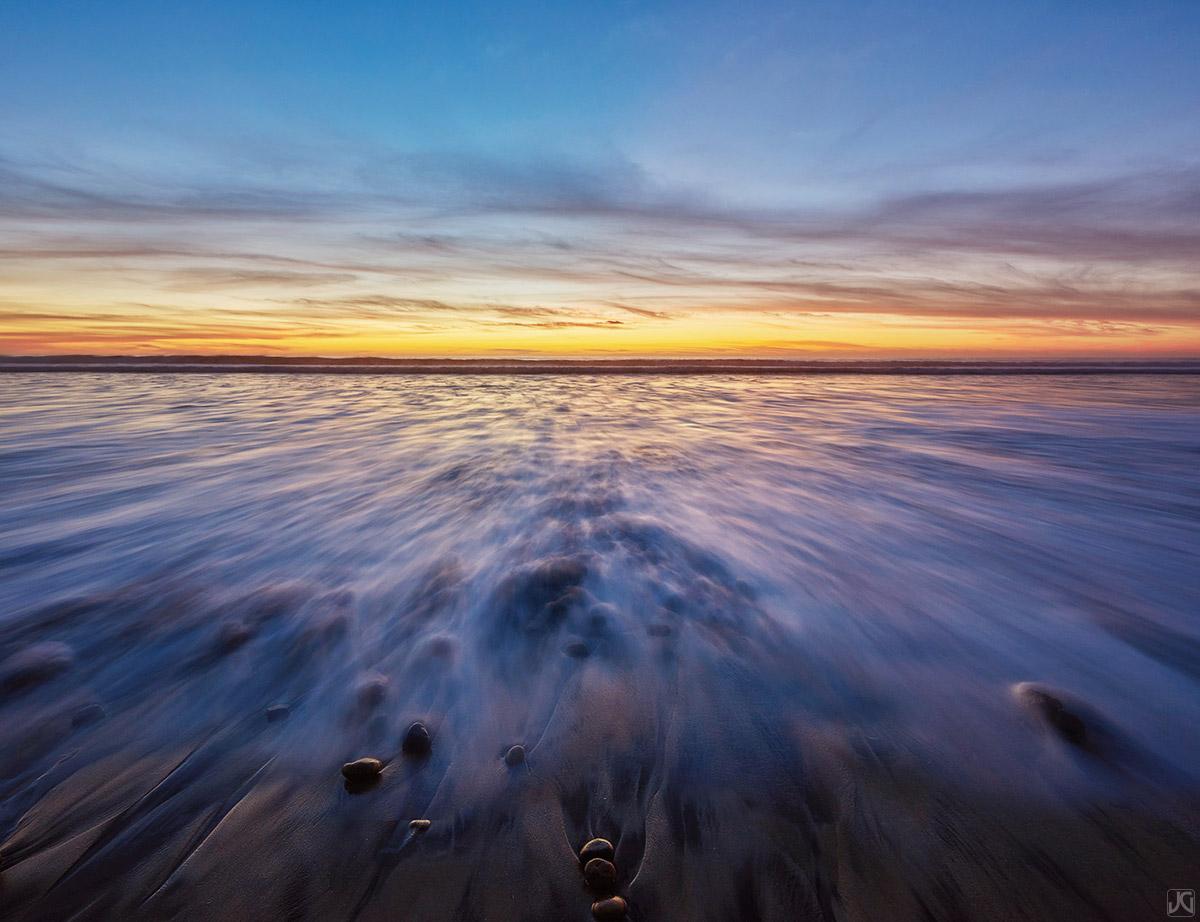 California, ocean, Del Mar, sunset, rocks, light, photo