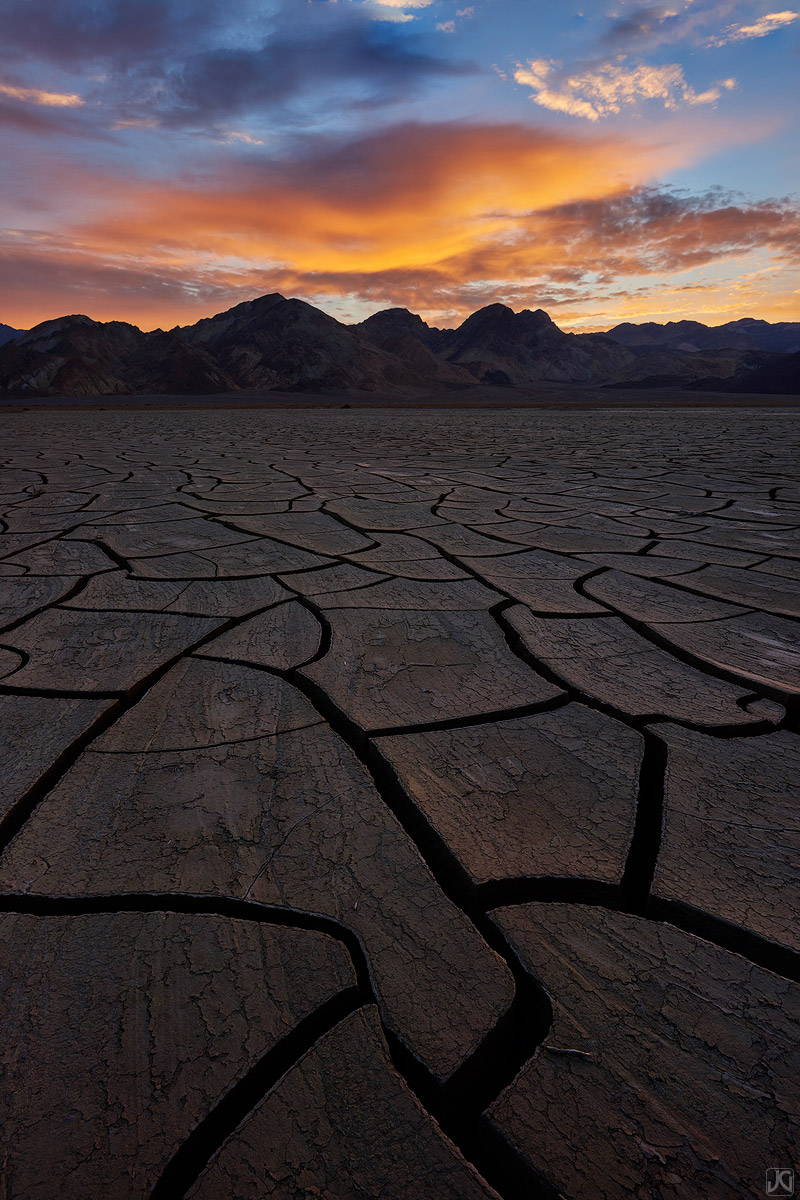 california, death valley, desert, sunrise, clouds, mud cracks, photo