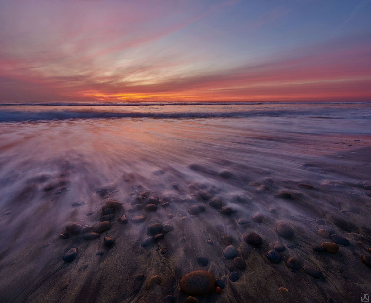 California, Del Mar, rocks, beach, sunset, sand, tide, photo