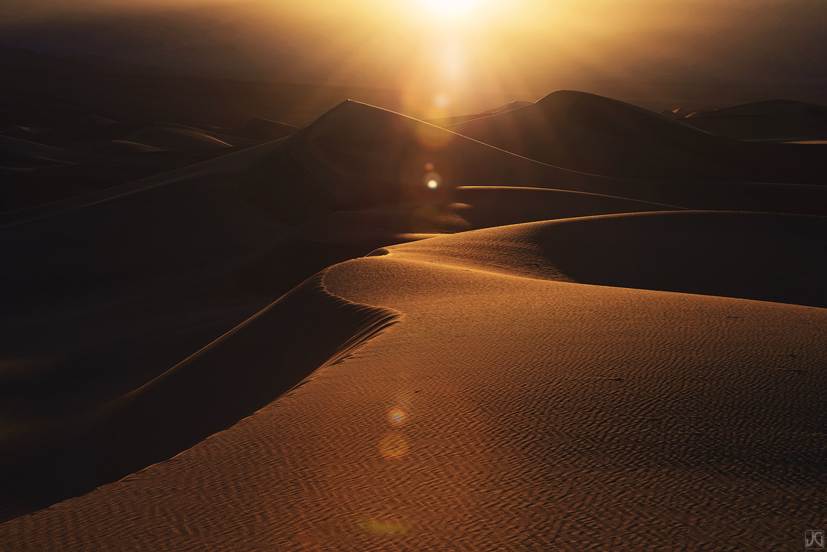 california, death valley, sand, dunes, sun, glow, photo