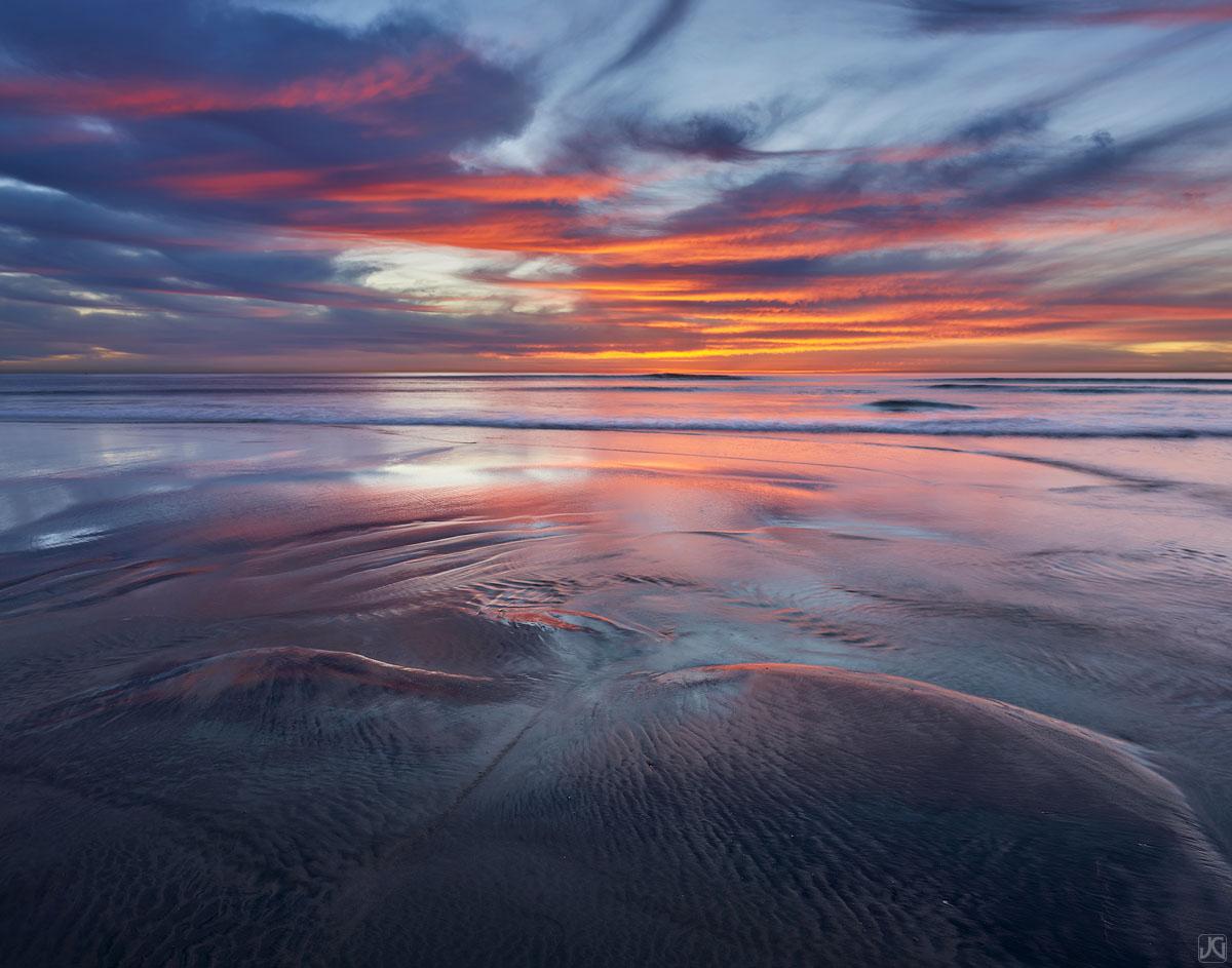 California, ocean, tide, Encinitas, sunset, reflection, photo