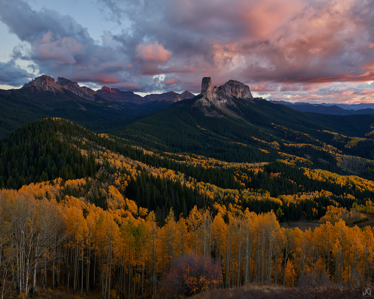 Colorado, aspen, forest, sunset, autumn, trees, photo