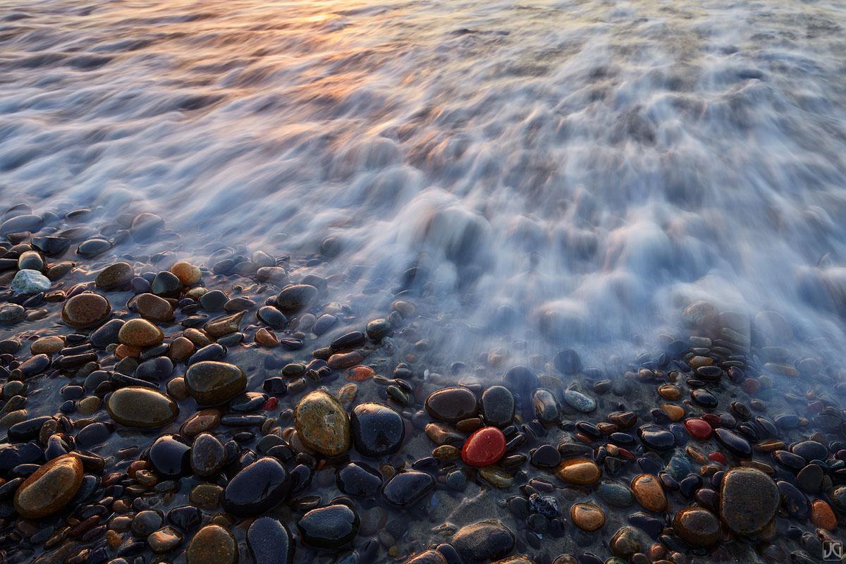 California, Del Mar, rocks, beach, sunset, tide, photo